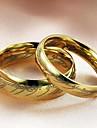 Anéis Casamento / Pesta / Diário / Casual Jóias Aço Titânio Casal Anéis de Casal5 / 6 / 7 / 8 / 9 / 10 / 11 / 12 Dourado