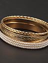 Fashion 7cm Pearl Four Circle Golden Bangles(1 Pc)