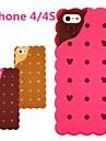 Sanduíche de biscoito caso de borracha de silicone de design 3D para iPhone 4 / 4S (cores opcionais)