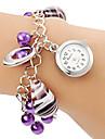 Femme Bracelet de Montre Quartz Alliage Bande Perles Violet Violet