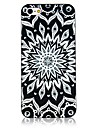 Black and White Totem Pattern Black Frame Back Case for iPhone 4/4S