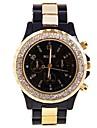 cristal élégante des femmes montre décorée cadran rond en plastique analogique bracelet à quartz (couleurs assorties)