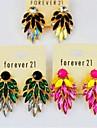 Color Block Neon Gem Rhinestone Drop Earrings Fashion Earring