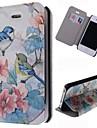 아이폰 4 / 4S에 대한 카드 슬롯이있는 아름다운 새 패턴 가죽 전신 경우