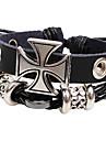 мужской многослойная крест черный кожаный браслет обруча