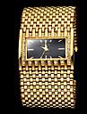 mode de luxe cadran carré en acier d'or large de la montre-bracelet à quartz bande des femmes