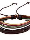 20cm comme présents couleur aléatoire cuir en cuir bracelet ethnique des femmes (multicolore) (1 pc)