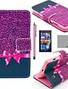 Коко fun® фиолетовый узор Leopard Кожа PU Полный чехол для тела с защитой экрана, стилус и стенд для Nokia Lumia N520