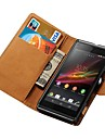 style de portefeuille étui en cuir véritable pour Sony Xperia l s36h