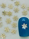 200pcs forma floco de neve charme metal dourado arte fatia decoração de unhas