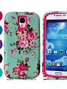 venda quente azul padrão floral difícil pc armadura e TPU caso de telefone celular para Samsung Galaxy S4 / i9500 (cores sortidas)