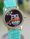Mulheres Relógio de Moda Quartz Silicone Banda Desenhos Animados Vermelho / Rosa / Roxa / Azul Marinho marca-