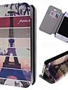 아이폰 4 / 4S를위한 카드 슬롯 만화 에펠 탑 패턴 가죽 전신 경우
