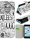 The Beatles Pattern Clamshell PU Leather Full Body Case with Card Slot for iPhone 5C