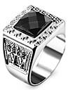 Муж. Жен. Массивные кольца Любовь По заказу покупателя бижутерия Нержавеющая сталь Акрил Искусственный бриллиант В форме квадрата