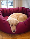 Round Soft Fleece Bed with Paw Pattern for Pets Dogs (Assorted Colors)