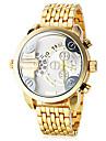 Мужской Армейские часы Наручные часы С двумя часовыми поясами Кварцевый Нержавеющая сталь Группа Люкс Золотистый
