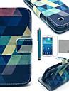 코코는 삼성 갤럭시 S4 미니 i9190를위한 스크린 protecter 및 스타일러스 블루 퍼즐 패턴 PU 가죽 케이스를 fun®
