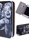 grãos especiais meninas do tatuagem padrão caso de corpo inteiro pu com slot para cartão de iPhone 4 / 4S