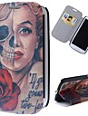Cartoon Skulls Marilyn Pattern Full Body Case with Stand PU Leather Case for Samsung Galaxy S3 I9300