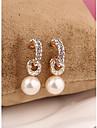 Korea Long White Pearl Arc 18K Gold Plated Stud Earrings for Women in Jewelry