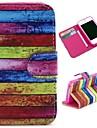 아이폰 4 / 4S를위한 색깔을 입히고 나무 패턴 지갑 스타일의 플립 스탠드 TPU + PU 가죽 케이스