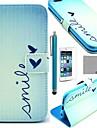 Coco fun® bonito padrão de coração estojo de couro pu com protetor de tela, suporte e stylus para o iPhone 6 Plus