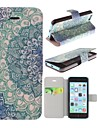 Blue Lotus Pattern PU Leather Full Body Case with Stand and A Stylus Touch Pen for iPhone 5C