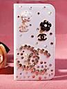 flores de diamante pu couro caso de corpo inteiro com suporte e slot para cartão para o iphone 5-C