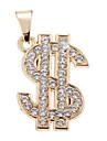 절묘한 높은 품질의 빛나는 황금 미국 달러 펜던트 모조 다이아몬드 (1 개)