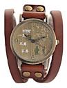 Women's Vintage Style Leather Band Quartz Analog Bracelet Watch (Assorted Colors)