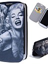 Cartoon Tattoo Marilyn Pattern Full Body Case with Stand PU Leather Case for Samsung Galaxy S3 I9300