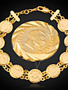 u7® Франция браслеты Наполеон монет 18k реальное позолоченные звено женщин браслет ювелирных изделий