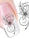 1 Стикер искусства ногтя Наклейка для переноса воды Цветы Абстракция макияж Косметические Ногтевой дизайн