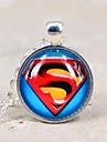 Women's Galaxy Superman Time Gemstone Silver Necklace