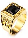 Массивные кольца Драгоценный камень Естественный черный Любовь По заказу покупателя Нержавеющая сталь Акрил Позолота 18K золотоВ форме