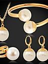 U7® Big Synthetic Pearls Imitation Pendant Earrings Bracelet Ring Set 18MM 55CM
