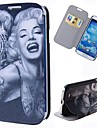 Cartoon Tattoo Marilyn Pattern Full Body Case with Stand PU Leather Case for Samsung Galaxy S4 I9500