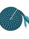 3m 10tf Micro USB плоским лапши ткани плетеный синхронизации данных кабель для зарядки для Samsung Galaxy S3 S4 (разных цветов)
