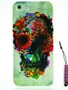 motif de crâne de fleur de cas dur&Stylet pour iPhone 5 / 5s
