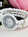 Mulheres Relógio de Moda Bracele Relógio Simulado Diamante Relógio Quartzo imitação de diamante Plastic Banda Flor Pérolas Branco