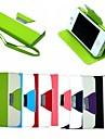 carteira de couro de couro do caso da aleta ficar tampa com suporte de cartão para iPhone 4 / 4S (cores sortidas)