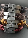 Four Colors Hemp Rope Cross Charm Leather Bracelet