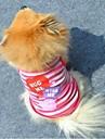 Коты / Собаки Футболка Лиловый / Розовый Одежда для собак Лето Сердца / Полоски Мода
