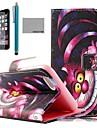 Coco fun® padrão puple caixa gato estojo de couro pu com protetor de tela, de pé e caneta para iPhone 6 Plus 5.5