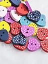 coração dot recados em forma scraft costura botões de madeira diy (10 peças de cor aleatória)