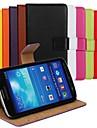Pour Samsung Galaxy Coque Portefeuille Porte Carte Avec Support Clapet Coque Coque Intégrale Coque Couleur Pleine Cuir PU pour SamsungS4