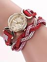 Mulheres Relógio de Moda Bracele Relógio Quartzo PU Banda Brilhante Boêmio Preta Azul Vermelho Marrom Verde RosaVermelho Verde Azul Rosa