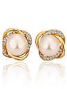 Fashion Pearl Electroplating Ms 18K Gold Diamond Stud Earrings