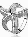Fashion Women (Zircon Inlaid) White Silver-Plated Women Rings (White) (1 Pc)